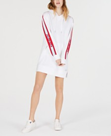 Calvin Klein Performance Varsity-Stripe Hoodie Dress