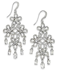 I.N.C. Crystal Flower Chandelier Earrings, Created for Macy's