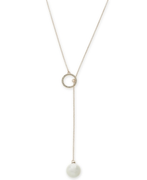 Imitation Pearl and Pave Circle Lariat Necklace