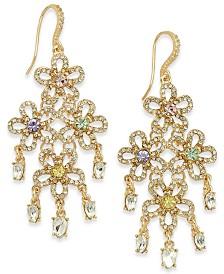 I.N.C. Crystal Flower Chandelier Earrings, Created for Macy's