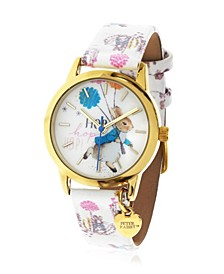 Children's Peter Rabbit Gold Steel Case and Printed White Leather Watch 28mm