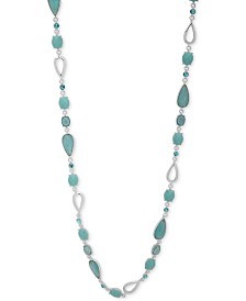 "Anne Klein Silver-Tone Imitation Turquoise 42"" Long Necklace"