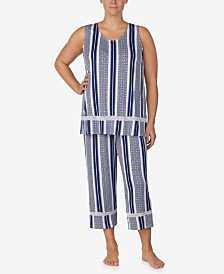 Ellen Tracy Plus-Size Sleeveless Top and Cropped Pajama Pants Set