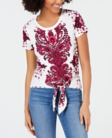 I.N.C. Printed Tie-Front T-Shirt, Created for Macy's
