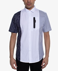 Sean John Men's Regular-Fit Colorblocked Mix-Print Shirt