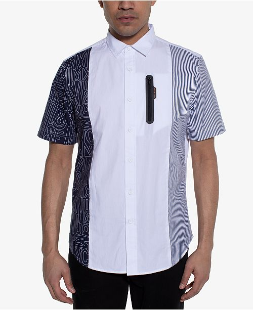 Sean John Men's Regular-Fit Colorblocked Mix-Print Shirt