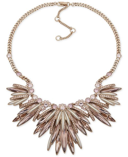 "Givenchy Gold-Tone Crystal & Imitation Pearl Statement Necklace, 16"" + 3"" extender"