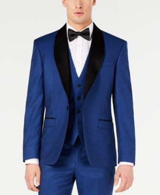 Men's Slim-Fit Stretch Cobalt Blue Shawl Lapel Tuxedo Jacket, Created for Macy's