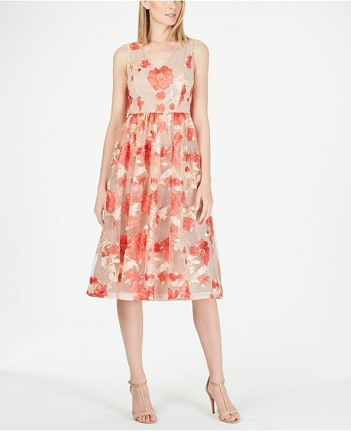 Calvin Klein Embroidered Mesh A-Line Dress