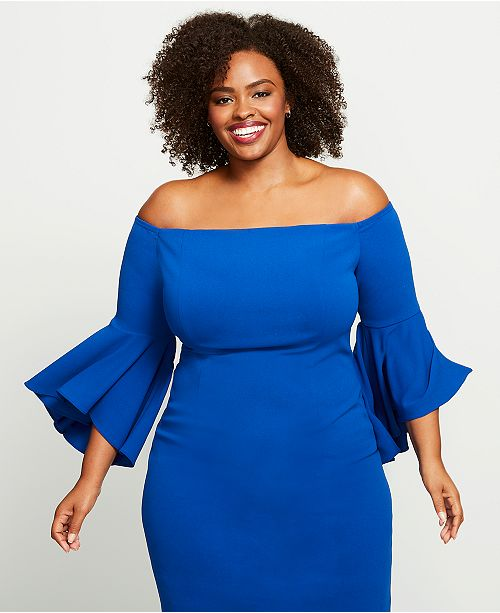 6d3b13e55d721 Calvin Klein Plus Size Off-The-Shoulder Crepe Dress   Reviews ...