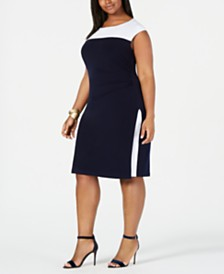 Connected Plus Size Colorblocked Sheath Dress