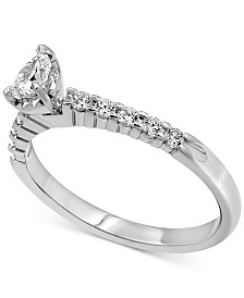 Diamond Pear Engagement Ring (1/2 ct. t.w.) in 14k White Gold