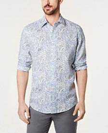 Tasso Elba Men's Floral-Paisley Linen Shirt, Created for Macy's