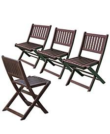 Eucalyptus 4 Folding Chairs Set