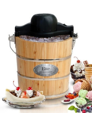 Elite Gourmet 4 Quart Old Fashioned Pine Bucket Electric, Manual Ice Cream Maker