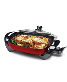 """Elite Gourmet 12"""" x 12"""" Electric Skillet with Glass Lid"""