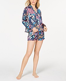 By Natori Lotus Boutique Flower-Print Satin Shirt and Pajama Shorts Set