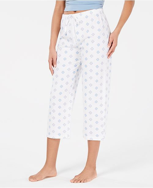 Charter Club Printed Soft Knit Cotton Cropped Pajama Pants, Created for Macy's