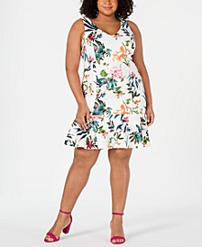 Plus Size Floral Printed Flounce-Hem Dress