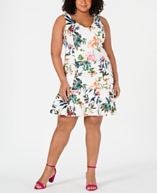 Taylor Plus Size Floral Printed Flounce-Hem Dress