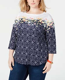 Charter Club Plus Size Printed 3/4-Sleeve Cotton Top, Created for Macy's