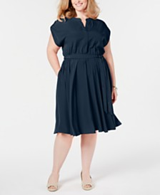 Charter Club Plus Size Cap-Sleeve Shirtdress, Created for Macy's