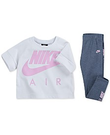 Nike Little Girls Air Logo Graphic Crop Top & Leggings Separates