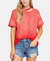0cbb22a2a83 Free People Cotton Lucky Cold-Shoulder Distressed T-Shirt