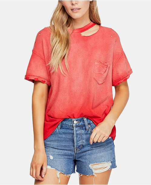 Free People Cotton Lucky Cold-Shoulder Distressed T-Shirt