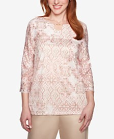 Alfred Dunner Petite Society Pages Printed Keyhole Top
