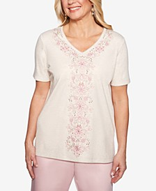 Petite Society Pages Embroidered Studded Top