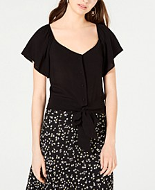 Juniors' Flutter-Sleeve Button-Front Top