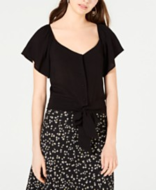 Gypsies & Moondust Juniors' Flutter-Sleeve Button-Front Top