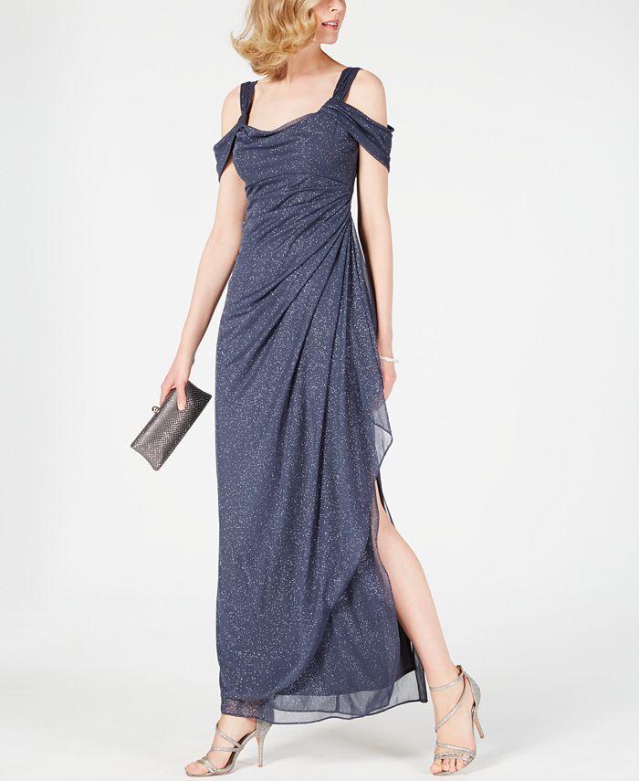 Alex Evenings - Cold-Shoulder Draped Glitter Gown