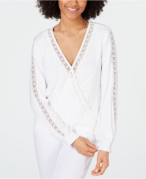 INC International Concepts I.N.C. Embroidered Crochet-Lace Surplice Top, Created for Macy's