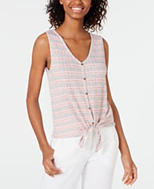 Hippie Rose Juniors' Striped Rib-Knit Tie-Front Tank Top