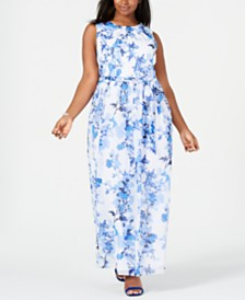 Jessica Howard Plus Size Belted Chiffon Maxi Dress
