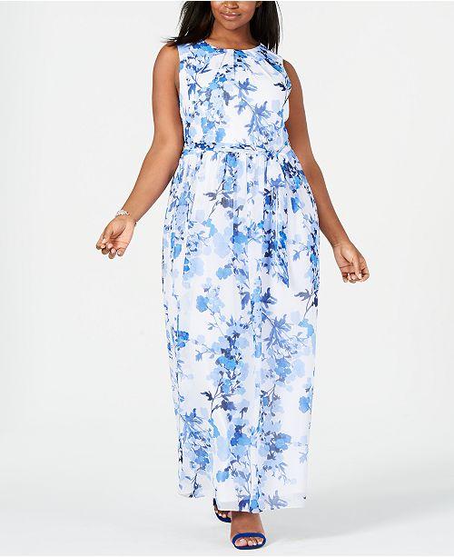 f7ff377b6f Jessica Howard Plus Size Belted Chiffon Maxi Dress   Reviews ...