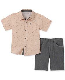 Calvin Klein Baby Boys 2-Pc. Cotton Shirt & Shorts Set
