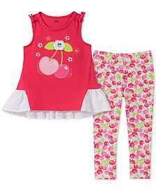 Kids Headquarters Baby Girls 2-Pc. Cherry Tunic & Printed Leggings Set