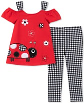 42699bf11874f9 Kids Headquarters Baby Girls 2-Pc. Ladybug Tunic & Checked Leggings Set