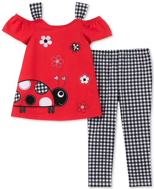 Kids Headquarters Baby Girls 2-Pc. Ladybug Tunic & Checked Leggings Set