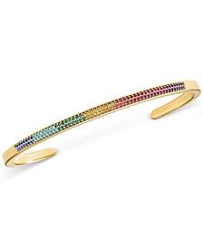 Gold-Tone Sterling Silver Multicolor Pavé Nesting Cuff Bracelet Insert