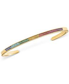 Michael Kors Gold-Tone Sterling Silver Multicolor Pavé Nesting Cuff Bracelet Insert