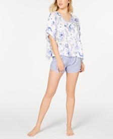 Flora by Flora Nikrooz Anaya Caftan-Style Top and Shorts Mixed-Print Pajama Set