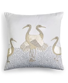 "Home Design Studio Crane Embellished 18"" x 18"" Decorative Pillow, Created for Macy's"