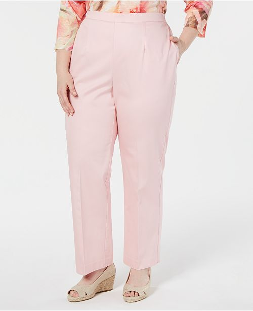 Alfred Dunner Plus Size Society Pages Flat Front Pull On Pants