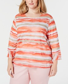 Alfred Dunner Plus Size Martinique Striped Top