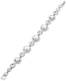 Silver-Tone Crystal & Imitation Pearl Flex Bracelet