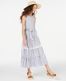 Rare Editions Big Girls Pom-Pom Striped Cotton Maxi Dress